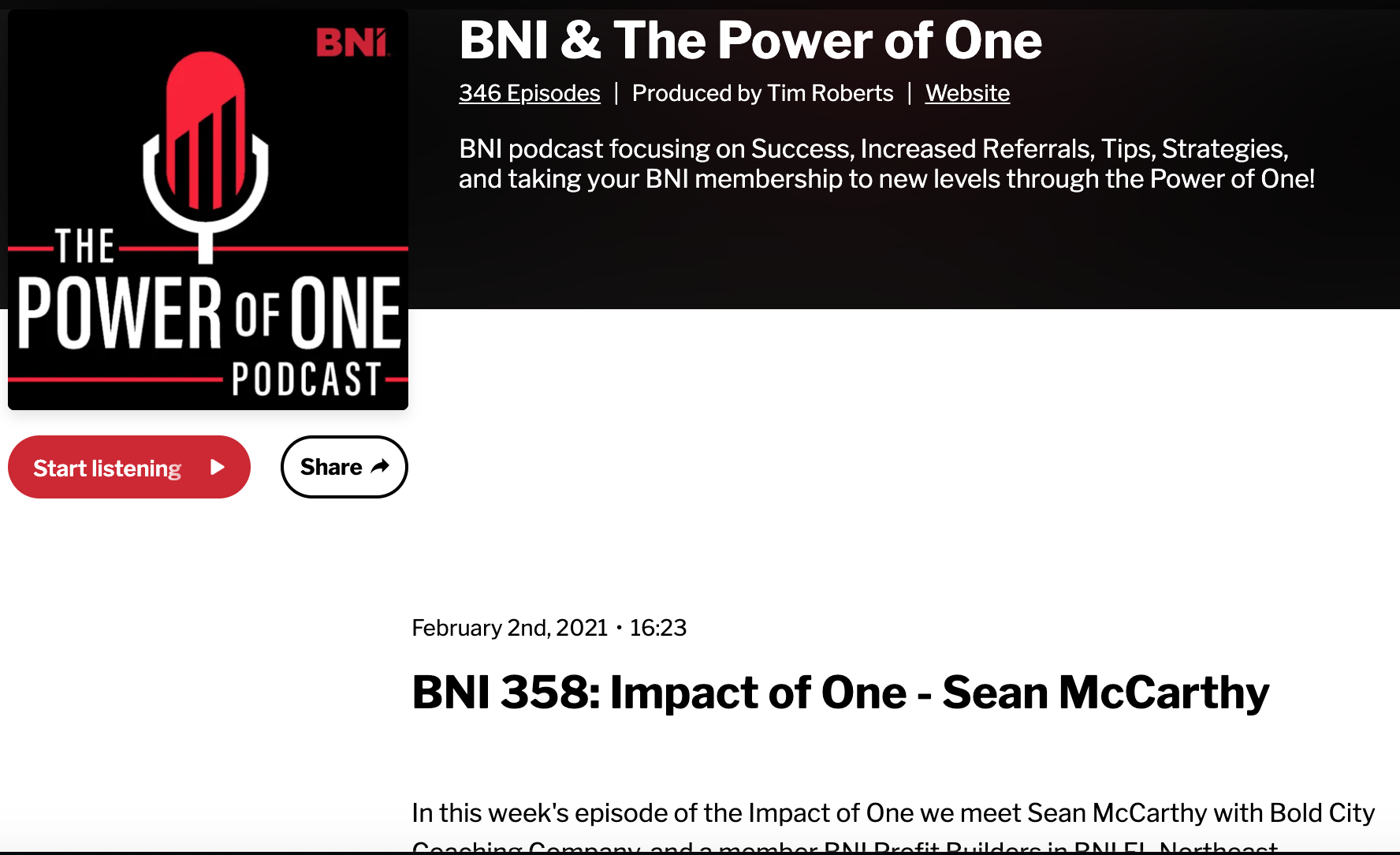 Read more about the article BNI The Power of One Podcast – Impact of One – Coach Sean McCarthy